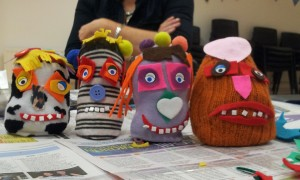 Some of the sock puppets the children made.