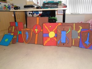 The Roman shields we made.